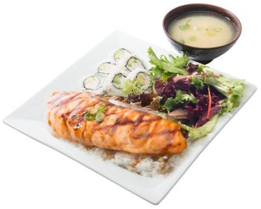 Salmon / Cali. Roll Bento
