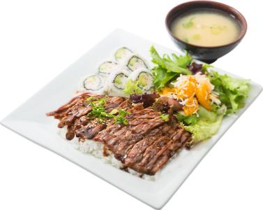 Steak & Cali. Roll Bento