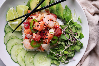Grand Combo Poke Bowl ( Salmon,tuna,shrimp,scallop))