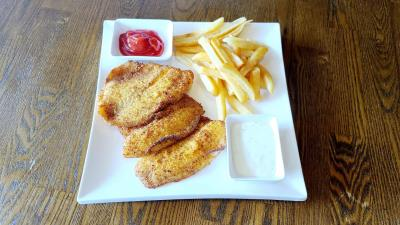 3 Pc Fish Meal ( Choice Of Fish W/sauce + Fries )-Rice Option